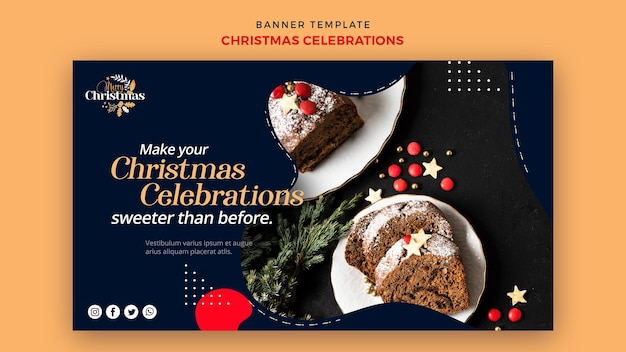 Horizontal banner template for traditional christmas desserts