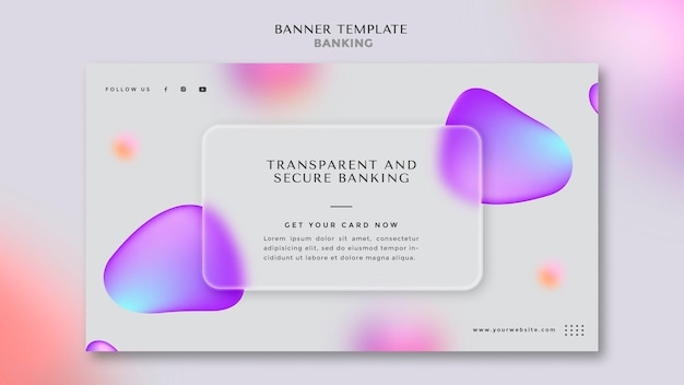 Horizontal banner template for transparent and safe banking