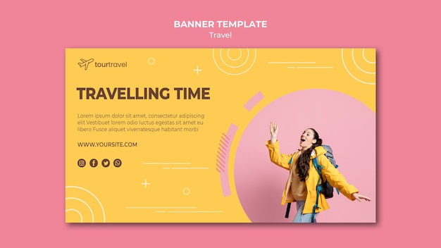 Horizontal banner template for traveling time