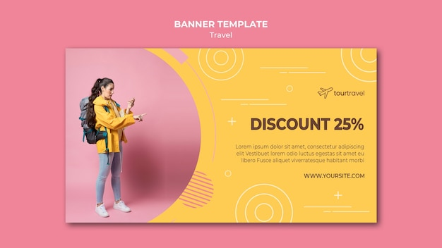 Horizontal banner template for traveling with discount