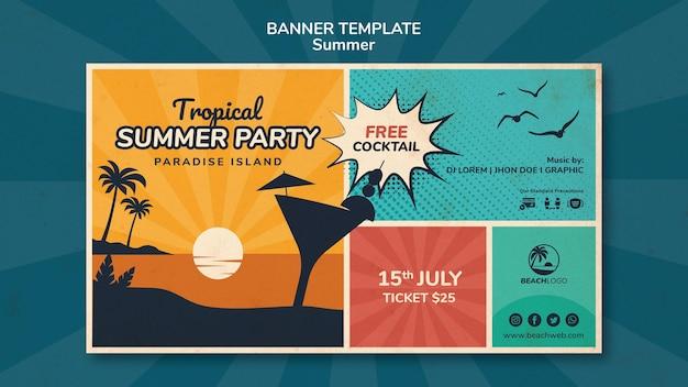Modello di banner orizzontale per festa in spiaggia tropicale