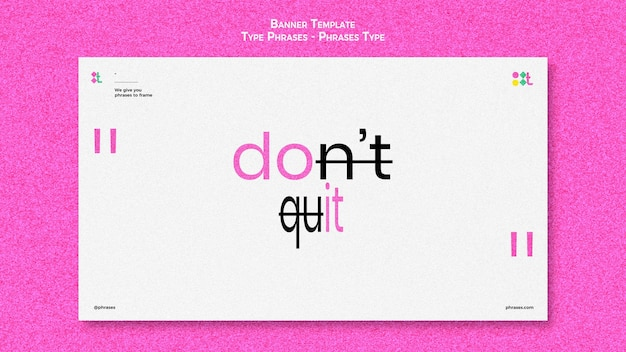 Horizontal banner template for type phrases