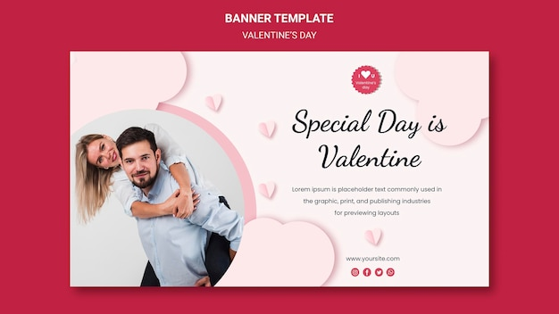 Horizontal banner template for valentine's day with couple in love