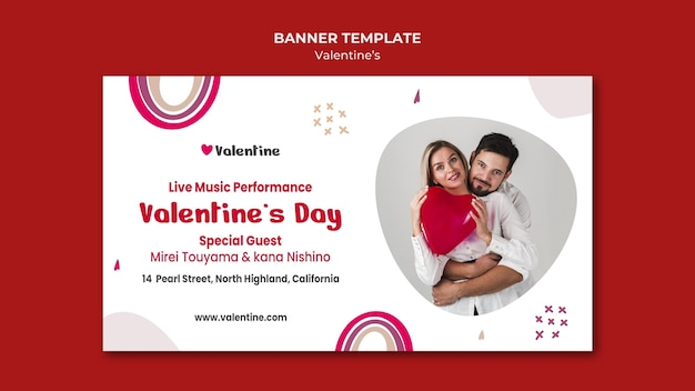Horizontal banner template for valentine's day with couple