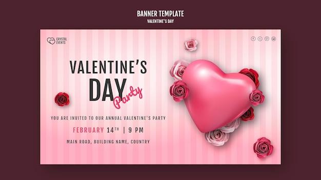 Modello di banner orizzontale per san valentino con cuore e rose rosse