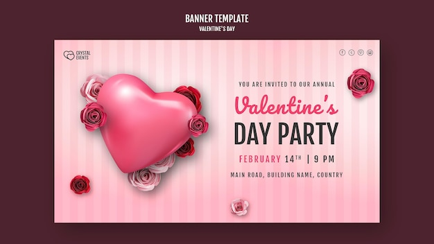 Horizontal banner template for valentine's day with heart and red roses
