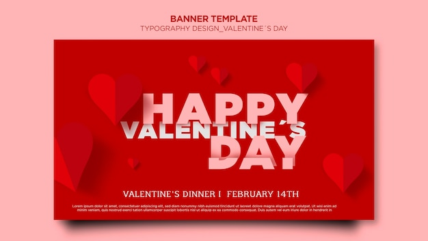 Horizontal banner template for valentine's day with hearts