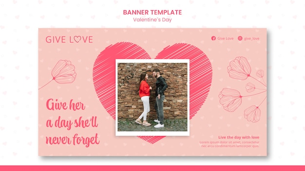 Horizontal banner template for valentine's day with photo of couple