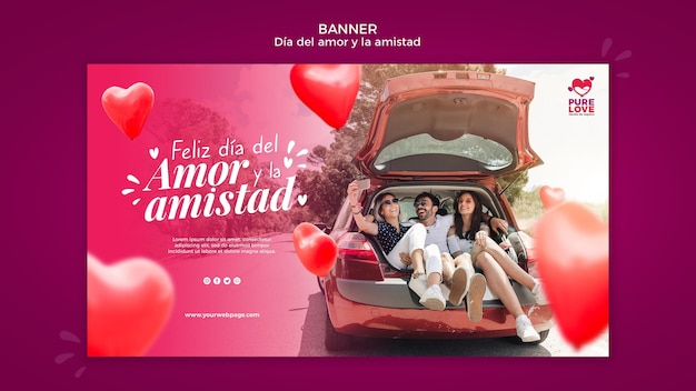 Horizontal banner template for valentines day celebration