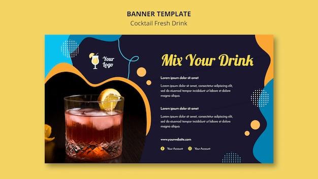 Modello di banner orizzontale per varietà di cocktail