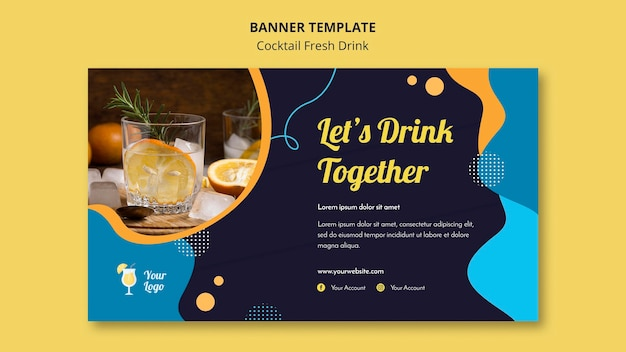 Horizontal banner template for variety of cocktails