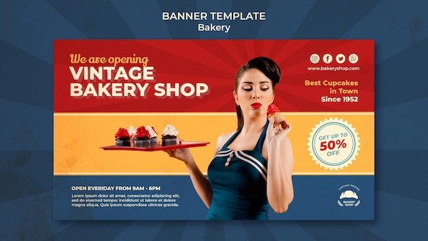 Horizontal banner template for vintage bakery shop with woman