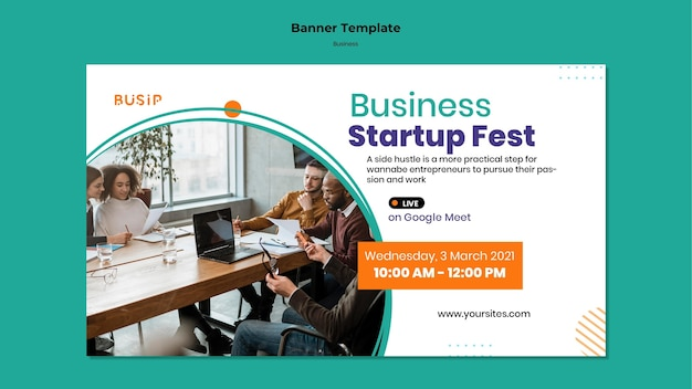 Horizontal banner template for webinar and business startup