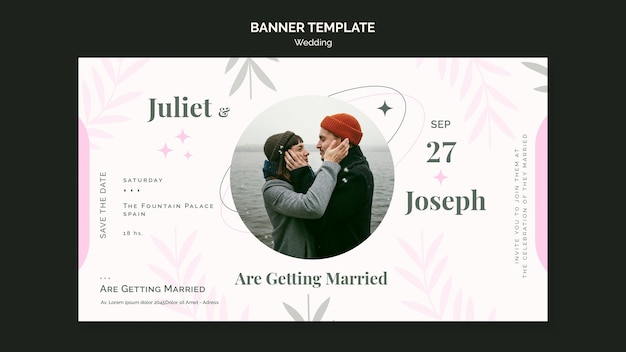 Horizontal banner template for wedding
