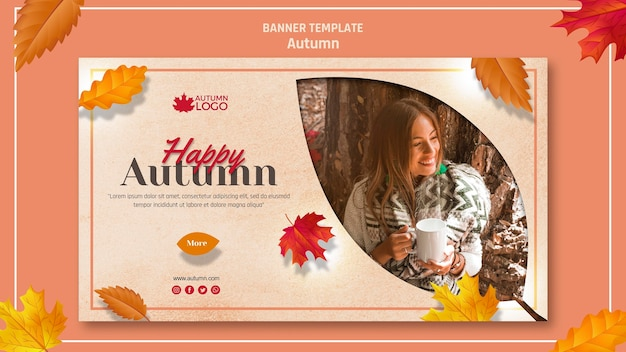 Horizontal banner template for welcoming autumn season