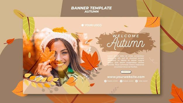 Horizontal banner template for welcoming the autumnal season