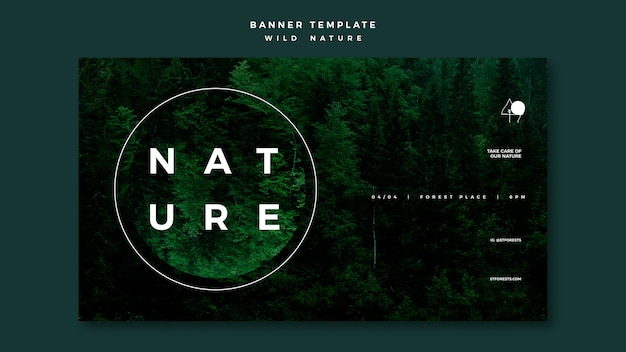 Horizontal banner template for wild nature