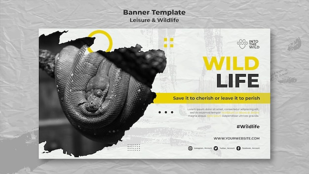 Horizontal banner template for wildlife and environment protection