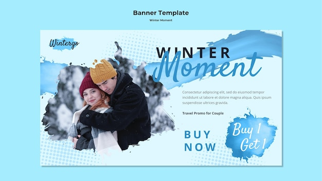 Horizontal banner template for winter couple moments