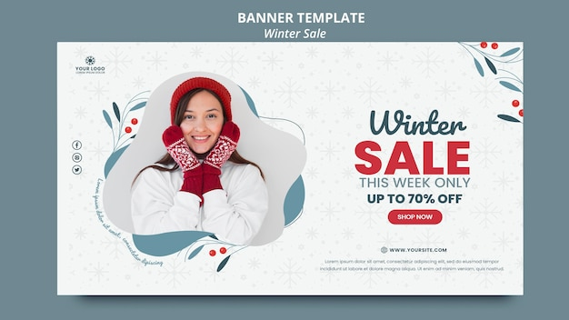 Horizontal banner template for winter sale
