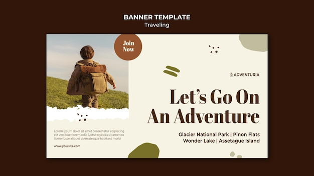 Horizontal banner template with backpacking traveling child