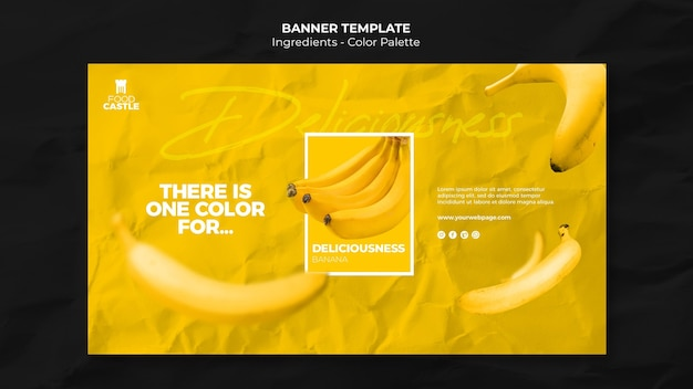Horizontal banner template with banana