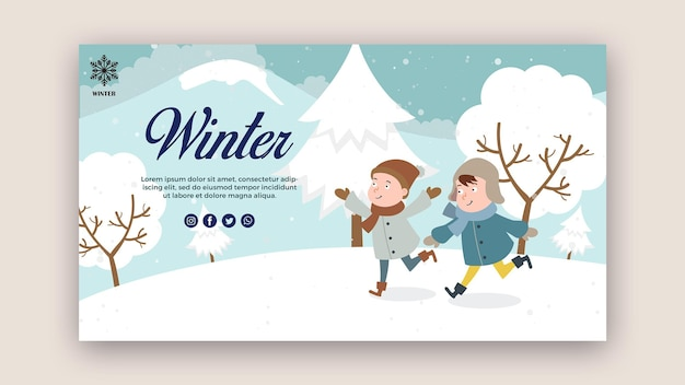 Horizontal banner template with children having fun
