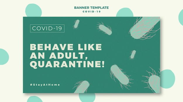 Horizontal banner template with covid-19