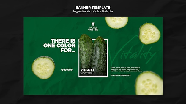 Horizontal banner template with cucumber