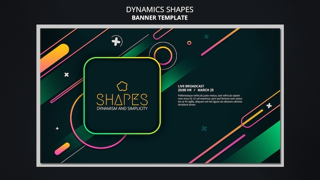 Horizontal banner template with dynamic geometric neon shapes