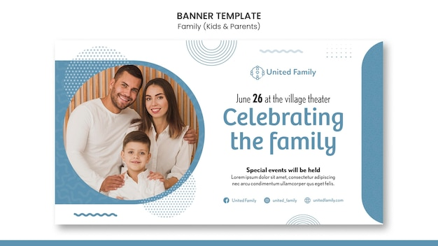Horizontal banner template with family and children