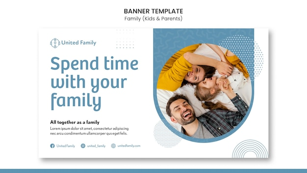 Modello di banner orizzontale con famiglia e bambini