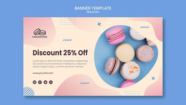 Horizontal banner template with macarons