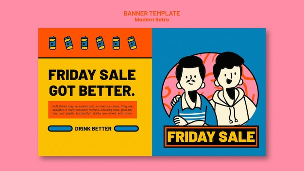 Horizontal banner template with modern vintage design for soft drinks