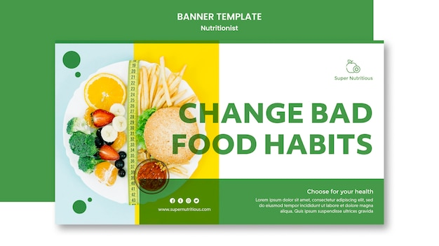 Horizontal banner template with nutritionist ad