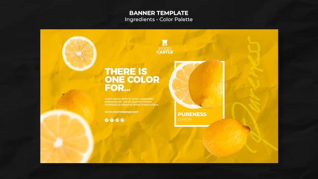 Horizontal banner template with orange