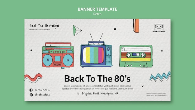 Horizontal banner template with retro items