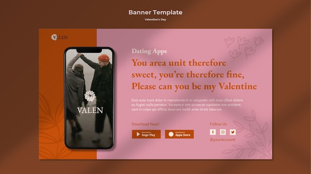 Horizontal banner template with romantic couple