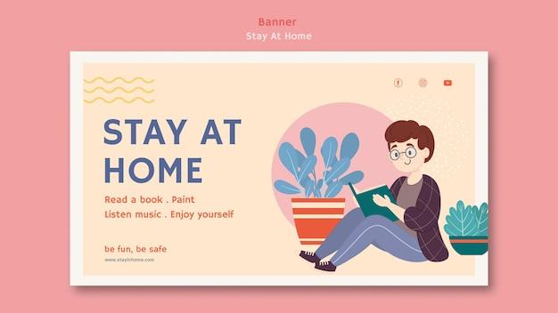 Modello di banner orizzontale con soggiorno a casa durante la pandemia