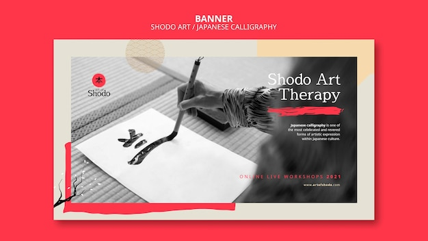 Horizontal banner template with woman practicing japanese shodo art