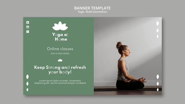 Horizontal banner template with woman practicing yoga