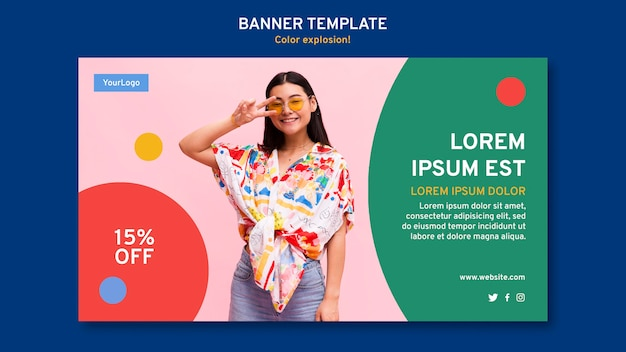 Horizontal banner template with woman wearing sunglasses