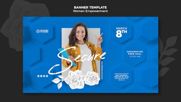 Horizontal banner template for women empowerment with encouraging word