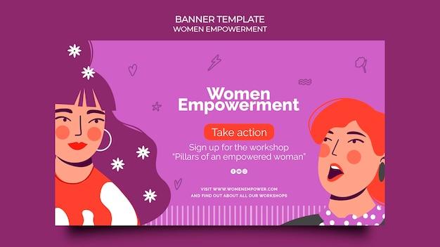 Modello di banner orizzontale per l'emancipazione delle donne
