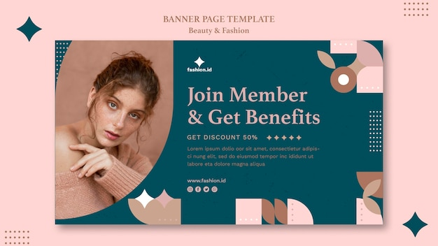Horizontal banner template for women's beauty and fashion