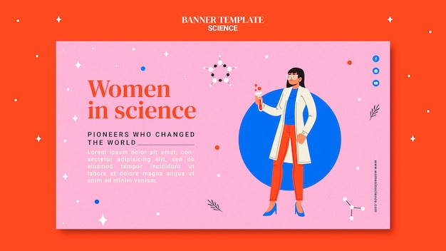 Horizontal banner template for women in science