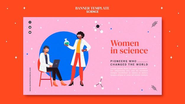 Modello di banner orizzontale per le donne nella scienza