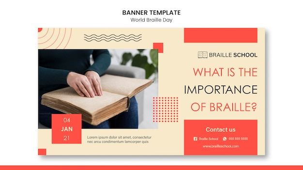 Horizontal banner template for world braille day