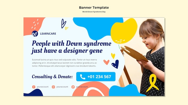 Horizontal banner template for world down syndrome day