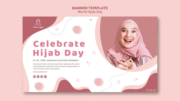 Horizontal banner template for world hijab day celebration